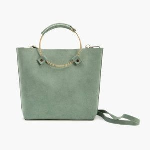Luxe Brass Handle Handbag - Sage Suede